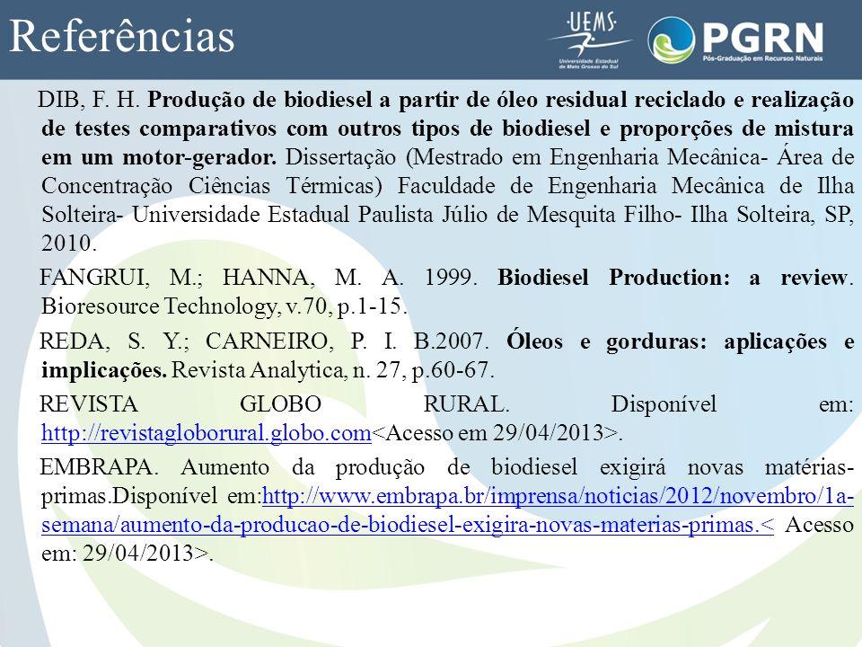 Referências DIB, F. H. Produção de biodiesel a partir de óleo residual reciclado e realização de testes comparativos com outros tipos de biodiesel e p