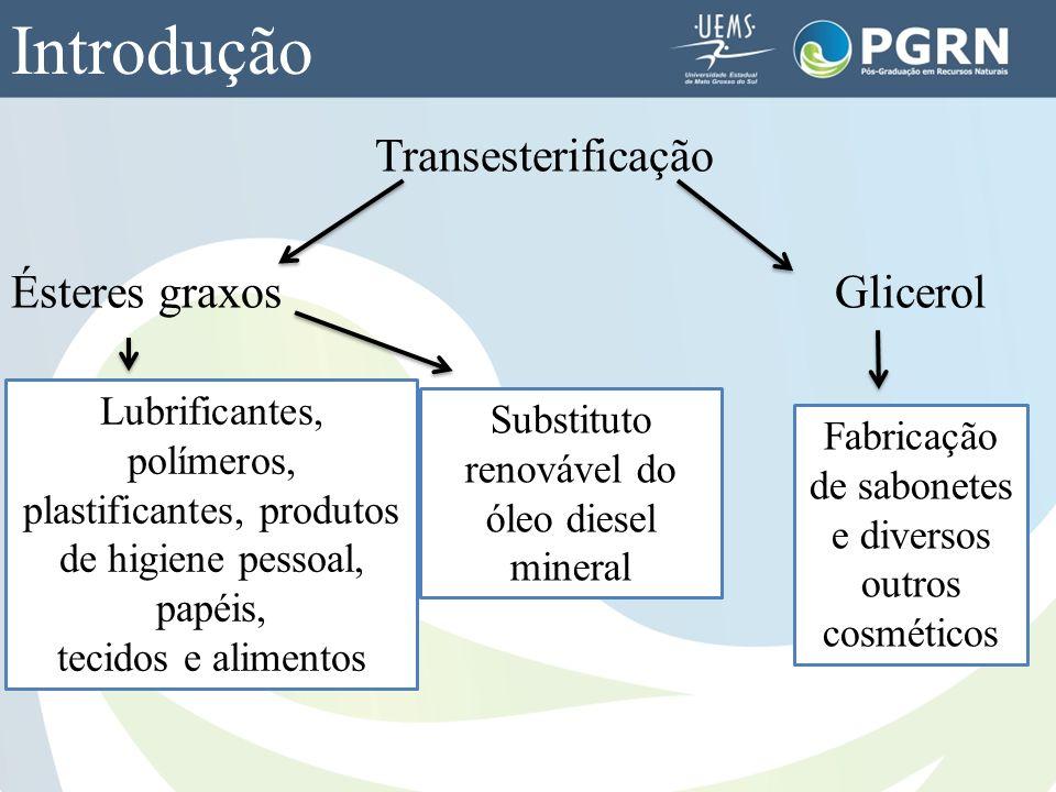 Transesterificação Ésteres graxos Glicerol Introdução Lubrificantes, polímeros, plastificantes, produtos de higiene pessoal, papéis, tecidos e aliment