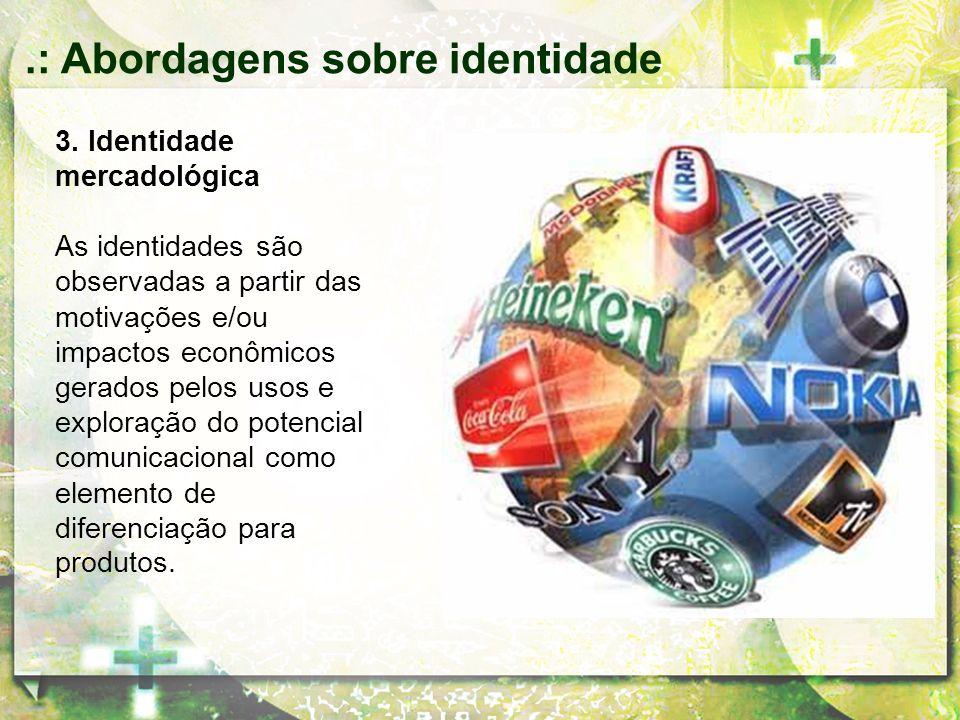 3. Identidade mercadológica As identidades são observadas a partir das motivações e/ou impactos econômicos gerados pelos usos e exploração do potencia