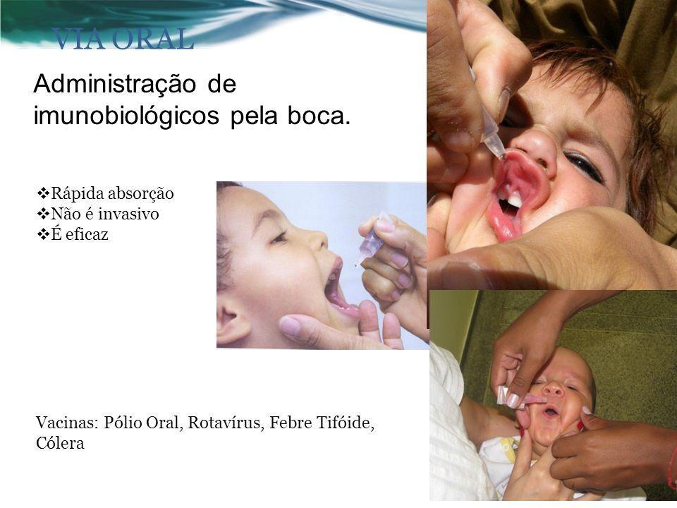 VIA ORAL Administração de imunobiológicos pela boca.