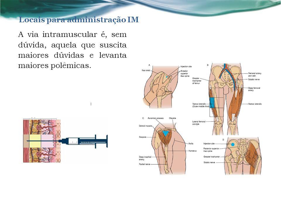 Locais para administração IM A via intramuscular é, sem dúvida, aquela que suscita maiores dúvidas e levanta maiores polêmicas.