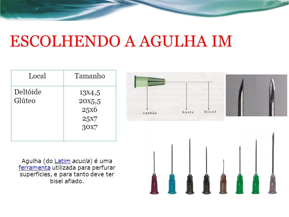 ESCOLHENDO A AGULHA IM LocalTamanho Deltóide Glúteo 13x4,5 20x5,5 25x6 25x7 30x7 Agulha (do Latim acucla) é uma ferramenta utilizada para perfurar superfícies, e para tanto deve ter bisel afiado.Latim ferramenta