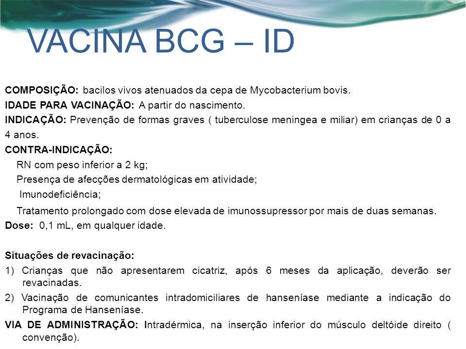 VACINA BCG – ID COMPOSIÇÃO: bacilos vivos atenuados da cepa de Mycobacterium bovis.