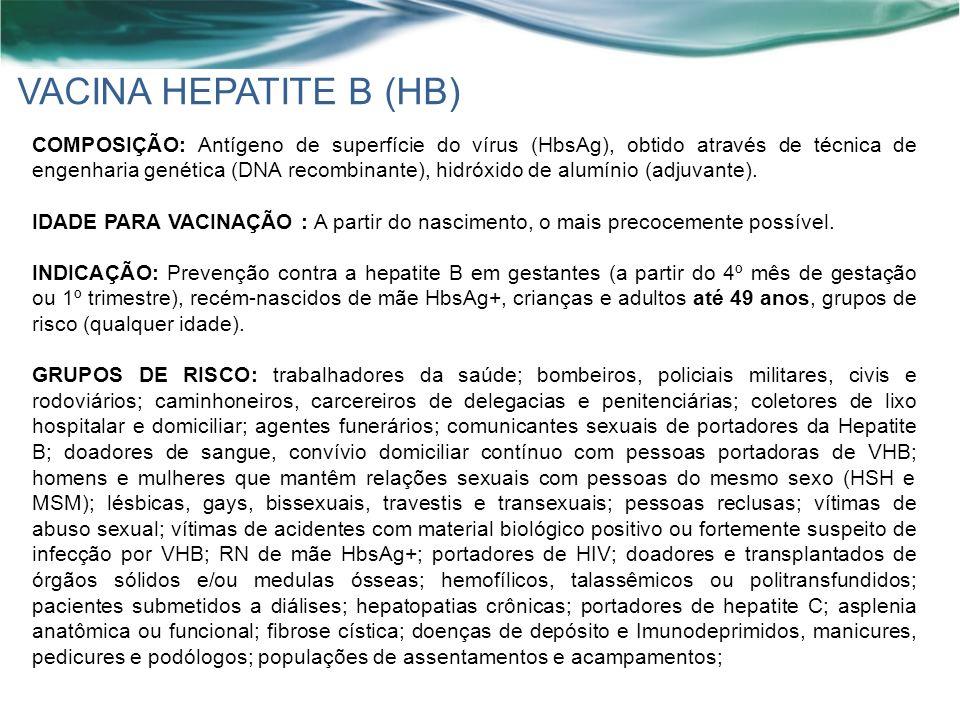 VACINA HEPATITE B (HB) COMPOSIÇÃO: Antígeno de superfície do vírus (HbsAg), obtido através de técnica de engenharia genética (DNA recombinante), hidróxido de alumínio (adjuvante).