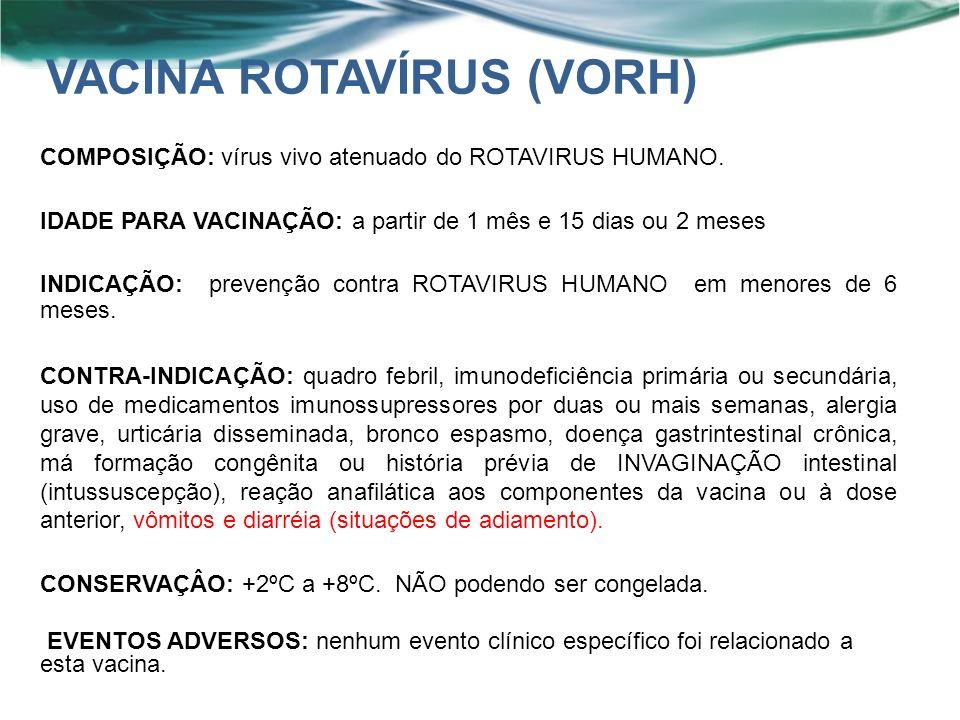 COMPOSIÇÃO: vírus vivo atenuado do ROTAVIRUS HUMANO.