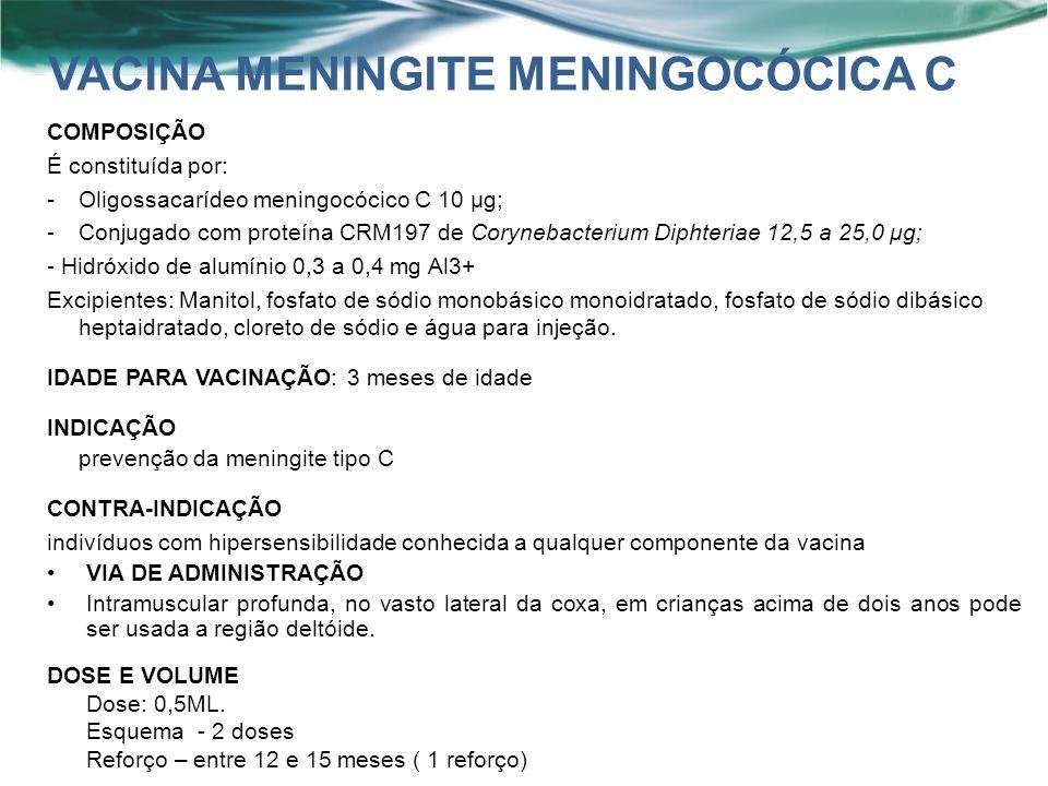 COMPOSIÇÃO É constituída por: -Oligossacarídeo meningocócico C 10 μg; -Conjugado com proteína CRM197 de Corynebacterium Diphteriae 12,5 a 25,0 μg; - Hidróxido de alumínio 0,3 a 0,4 mg Al3+ Excipientes: Manitol, fosfato de sódio monobásico monoidratado, fosfato de sódio dibásico heptaidratado, cloreto de sódio e água para injeção.