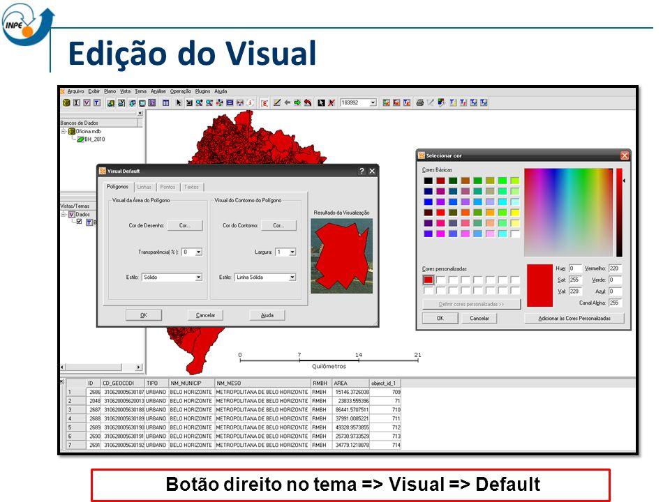 Edição do Visual Botão direito no tema => Visual => Default