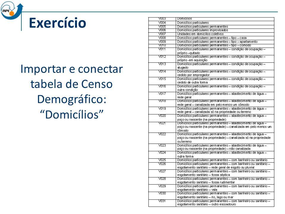 Exercício Importar e conectar tabela de Censo Demográfico: Domicílios