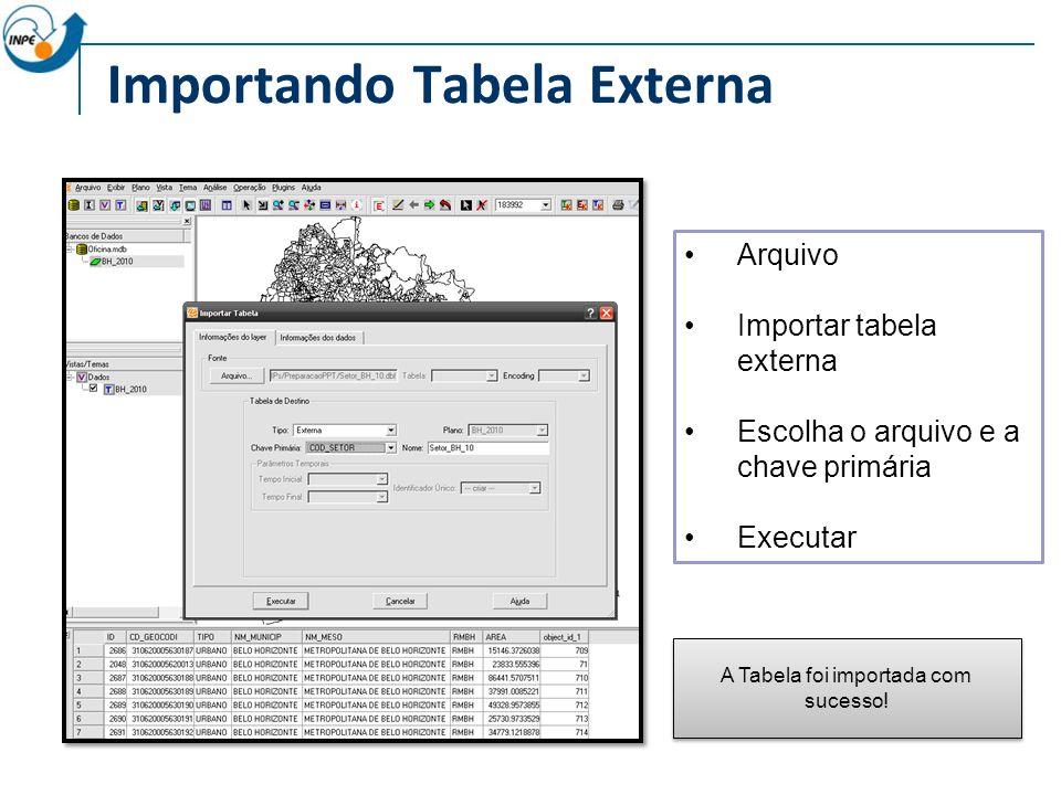 Importando Tabela Externa Arquivo Importar tabela externa Escolha o arquivo e a chave primária Executar A Tabela foi importada com sucesso!