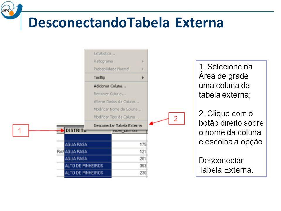 DesconectandoTabela Externa 1.Selecione na Área de grade uma coluna da tabela externa; 2.