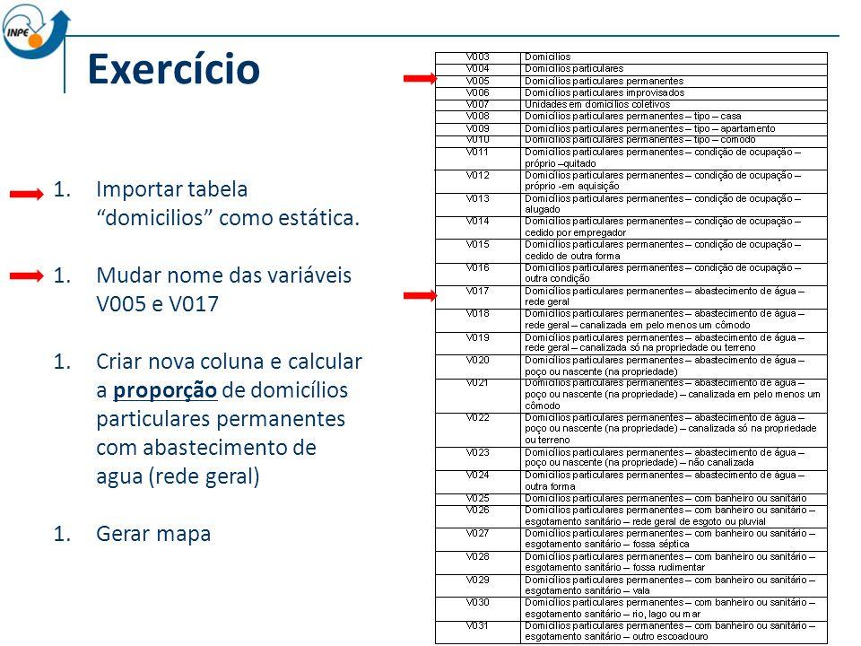 Exercício 1.Importar tabela domicilios como estática.