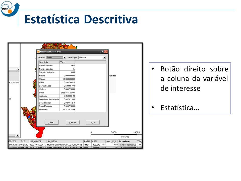 Estatística Descritiva Botão direito sobre a coluna da variável de interesse Estatística...