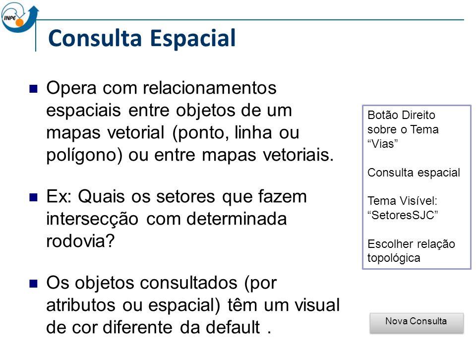 Consulta Espacial Botão Direito sobre o Tema Vias Consulta espacial Tema Visível: SetoresSJC Escolher relação topológica Nova Consulta Opera com relacionamentos espaciais entre objetos de um mapas vetorial (ponto, linha ou polígono) ou entre mapas vetoriais.