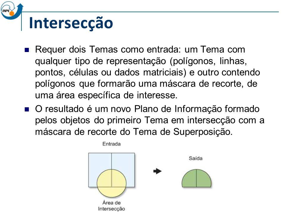 Intersecção Requer dois Temas como entrada: um Tema com qualquer tipo de representação (polígonos, linhas, pontos, células ou dados matriciais) e outro contendo polígonos que formarão uma máscara de recorte, de uma área específica de interesse.