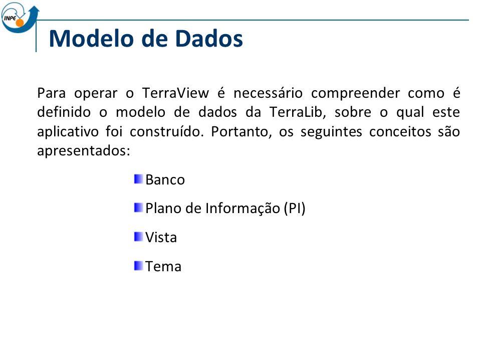 Modelo de Dados Para operar o TerraView é necessário compreender como é definido o modelo de dados da TerraLib, sobre o qual este aplicativo foi construído.
