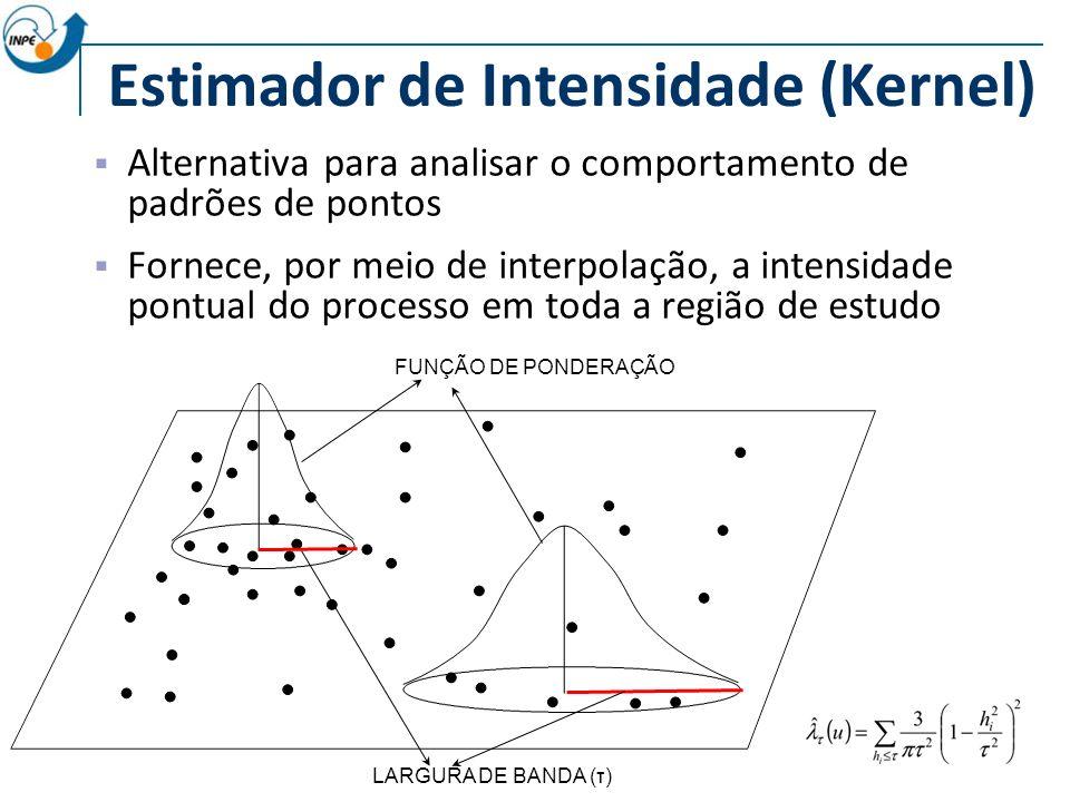 Estimador de Intensidade (Kernel) Alternativa para analisar o comportamento de padrões de pontos Fornece, por meio de interpolação, a intensidade pontual do processo em toda a região de estudo LARGURA DE BANDA (τ) FUNÇÃO DE PONDERAÇÃO