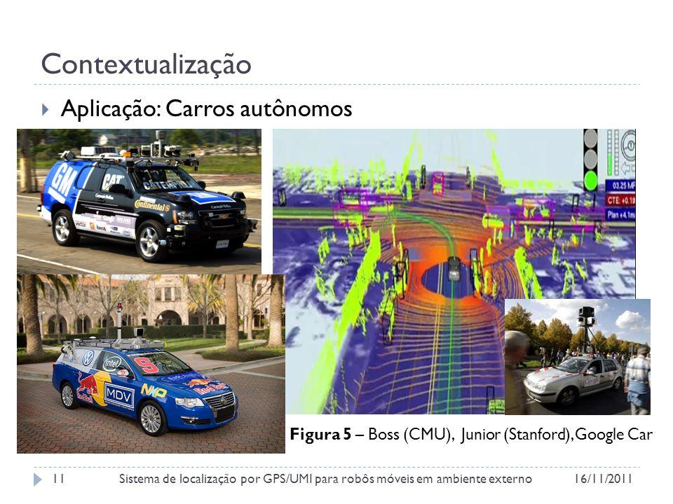 Contextualização Aplicação: Carros autônomos Figura 5 – Boss (CMU), Junior (Stanford), Google Car 16/11/2011Sistema de localização por GPS/UMI para robôs móveis em ambiente externo11
