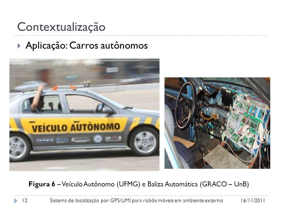 Contextualização Aplicação: Carros autônomos Figura 6 – Veículo Autônomo (UFMG) e Baliza Automática (GRACO – UnB) 16/11/2011Sistema de localização por GPS/UMI para robôs móveis em ambiente externo12
