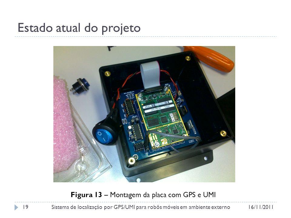 Estado atual do projeto Figura 13 – Montagem da placa com GPS e UMI 16/11/2011Sistema de localização por GPS/UMI para robôs móveis em ambiente externo19