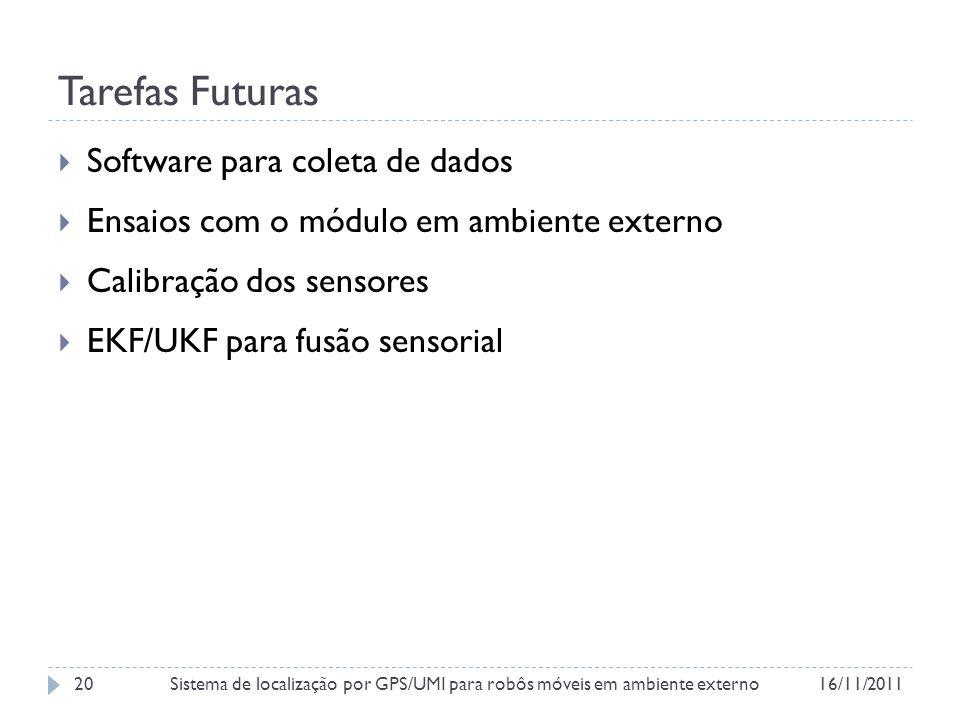 Tarefas Futuras Software para coleta de dados Ensaios com o módulo em ambiente externo Calibração dos sensores EKF/UKF para fusão sensorial 16/11/2011Sistema de localização por GPS/UMI para robôs móveis em ambiente externo20