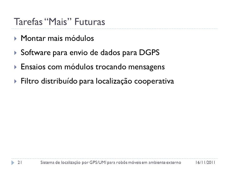 Tarefas Mais Futuras Montar mais módulos Software para envio de dados para DGPS Ensaios com módulos trocando mensagens Filtro distribuído para localização cooperativa 16/11/2011Sistema de localização por GPS/UMI para robôs móveis em ambiente externo21