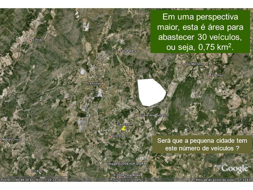 Em uma perspectiva maior, esta é área para abastecer 30 veículos, ou seja, 0,75 km 2.