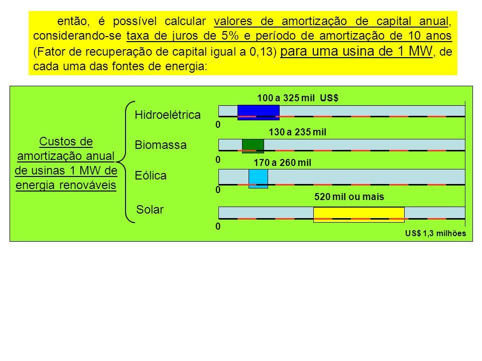 então, é possível calcular valores de amortização de capital anual, considerando-se taxa de juros de 5% e período de amortização de 10 anos (Fator de recuperação de capital igual a 0,13) para uma usina de 1 MW, de cada uma das fontes de energia: Custos de amortização anual de usinas 1 MW de energia renováveis Hidroelétrica Eólica Biomassa Solar 520 mil ou mais 0 US$ 1,3 milhões 170 a 260 mil 0 130 a 235 mil 0 100 a 325 mil US$ 0