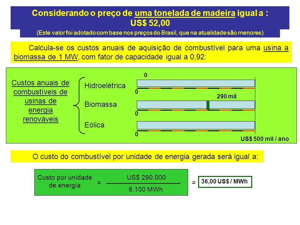 Considerando o preço de uma tonelada de madeira igual a : US$ 52,00 (Este valor foi adotado com base nos preços do Brasil, que na atualidade são menores) Calcula-se os custos anuais de aquisição de combustível para uma usina a biomassa de 1 MW, com fator de capacidade igual a 0,92: Custos anuais de combustíveis de usinas de energia renováveis Hidroelétrica Eólica Biomassa US$ 500 mil / ano 0 290 mil 0 0 0 O custo do combustível por unidade de energia gerada será igual a: Custo por unidade de energia = US$ 290.000 8.100 MWh 36,00 US$ / MWh =