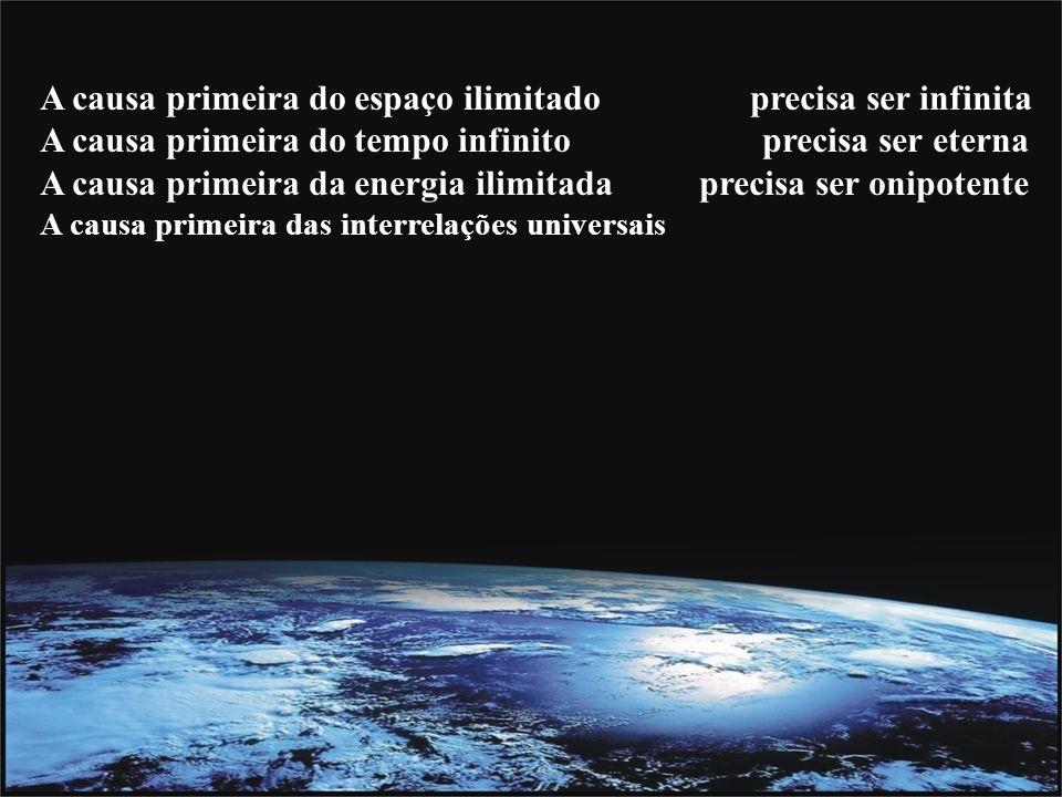 A causa primeira do espaço ilimitado precisa ser infinita A causa primeira do tempo infinito precisa ser eterna A causa primeira da energia ilimitada precisa ser onipotente A causa primeira das interrelações universais