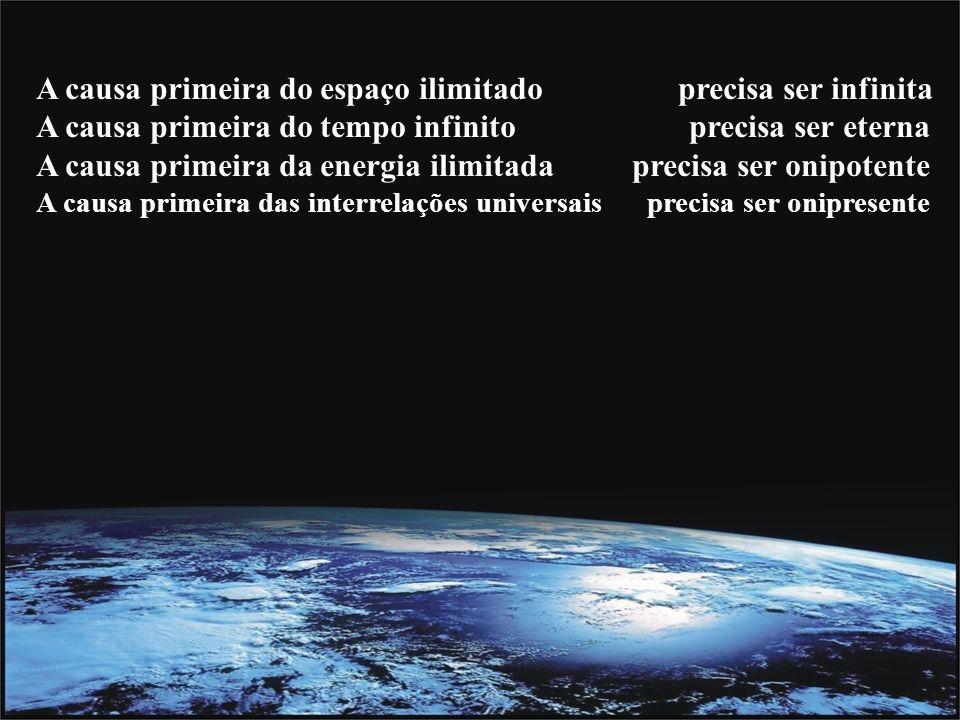 A causa primeira do espaço ilimitado precisa ser infinita A causa primeira do tempo infinito precisa ser eterna A causa primeira da energia ilimitada precisa ser onipotente A causa primeira das interrelações universais precisa ser onipresente