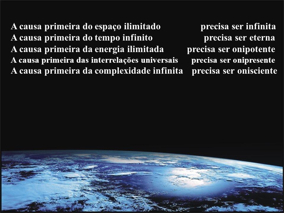 A causa primeira do espaço ilimitado precisa ser infinita A causa primeira do tempo infinito precisa ser eterna A causa primeira da energia ilimitada precisa ser onipotente A causa primeira das interrelações universais precisa ser onipresente A causa primeira da complexidade infinita precisa ser onisciente