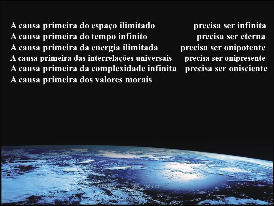 A causa primeira do espaço ilimitado precisa ser infinita A causa primeira do tempo infinito precisa ser eterna A causa primeira da energia ilimitada precisa ser onipotente A causa primeira das interrelações universais precisa ser onipresente A causa primeira da complexidade infinita precisa ser onisciente A causa primeira dos valores morais