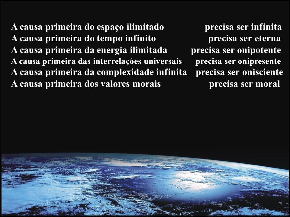 A causa primeira do espaço ilimitado precisa ser infinita A causa primeira do tempo infinito precisa ser eterna A causa primeira da energia ilimitada precisa ser onipotente A causa primeira das interrelações universais precisa ser onipresente A causa primeira da complexidade infinita precisa ser onisciente A causa primeira dos valores morais precisa ser moral