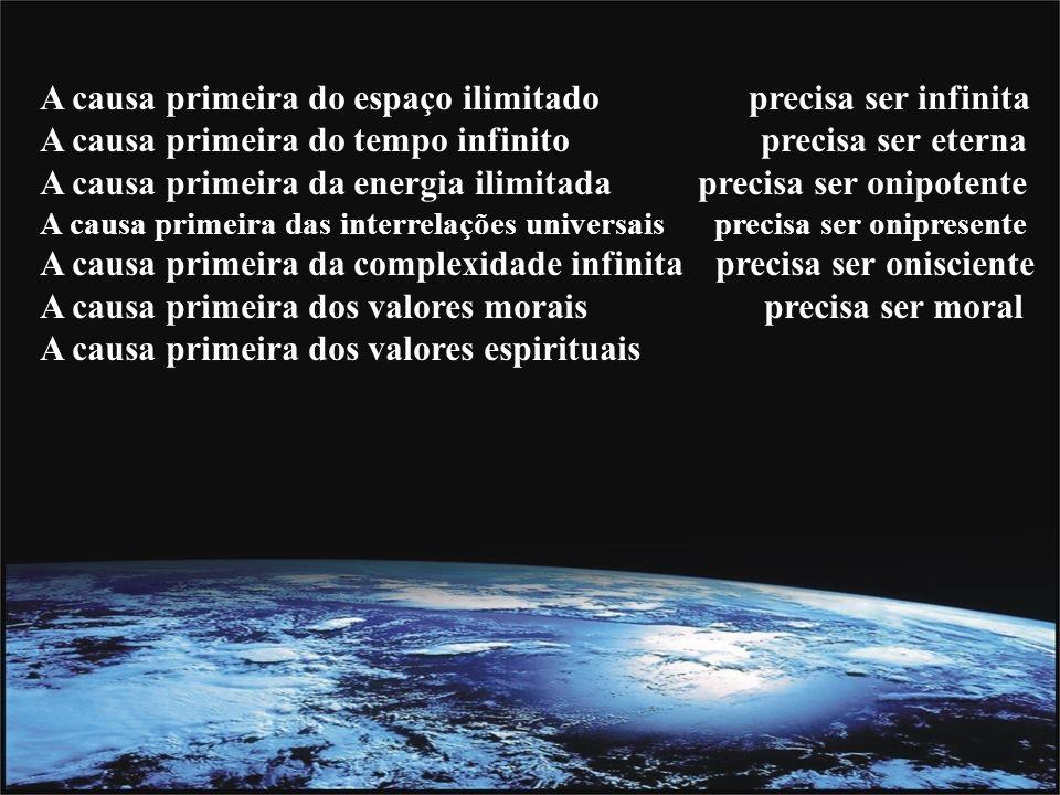 A causa primeira do espaço ilimitado precisa ser infinita A causa primeira do tempo infinito precisa ser eterna A causa primeira da energia ilimitada precisa ser onipotente A causa primeira das interrelações universais precisa ser onipresente A causa primeira da complexidade infinita precisa ser onisciente A causa primeira dos valores morais precisa ser moral A causa primeira dos valores espirituais