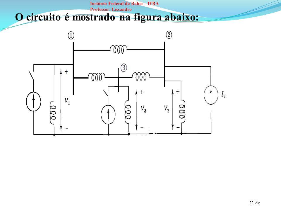 12 de Instituto Federal da Bahia – IFBA Professor: Lissandro É possível medir a impedância de transferência entre quaisquer duas barras da seguinte maneira: Por exemplo, Z 12 : As fontes de corrente I 1 e I 3 devem ser abertas.