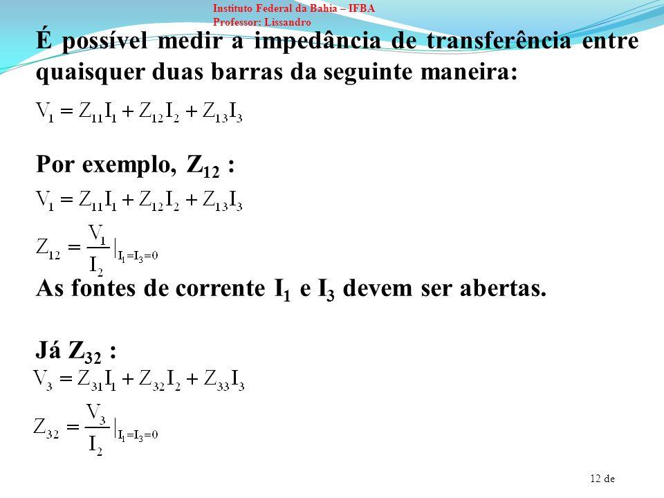 12 de Instituto Federal da Bahia – IFBA Professor: Lissandro É possível medir a impedância de transferência entre quaisquer duas barras da seguinte ma