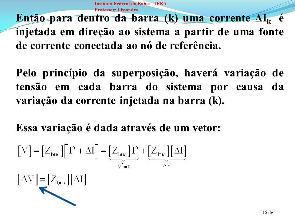 16 de Instituto Federal da Bahia – IFBA Professor: Lissandro Então para dentro da barra (k) uma corrente ΔI k é injetada em direção ao sistema a parti