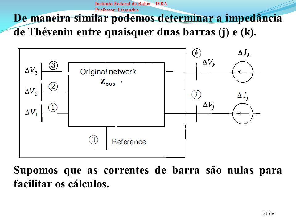 21 de Instituto Federal da Bahia – IFBA Professor: Lissandro De maneira similar podemos determinar a impedância de Thévenin entre quaisquer duas barra