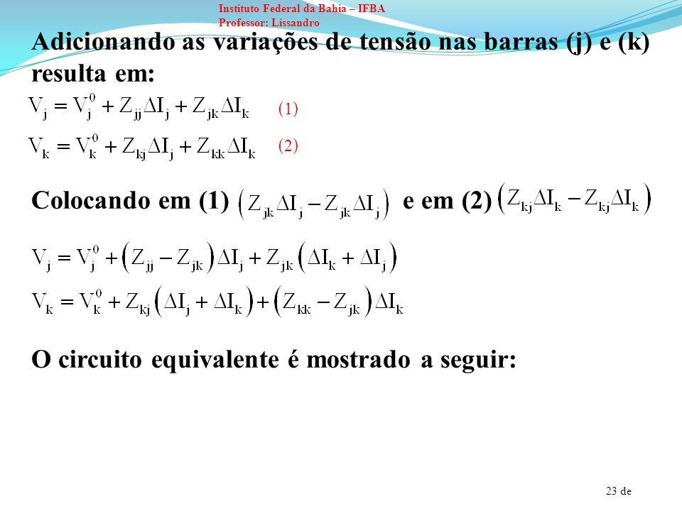 23 de Instituto Federal da Bahia – IFBA Professor: Lissandro Adicionando as variações de tensão nas barras (j) e (k) resulta em: Colocando em (1) e em