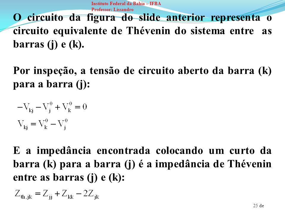 26 de Instituto Federal da Bahia – IFBA Professor: Lissandro Ao colocar uma impedância Z b entre as barras (k) e (j), a corrente é dada por: