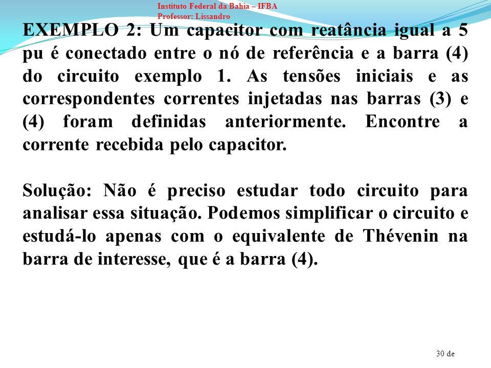 30 de Instituto Federal da Bahia – IFBA Professor: Lissandro EXEMPLO 2: Um capacitor com reatância igual a 5 pu é conectado entre o nó de referência e