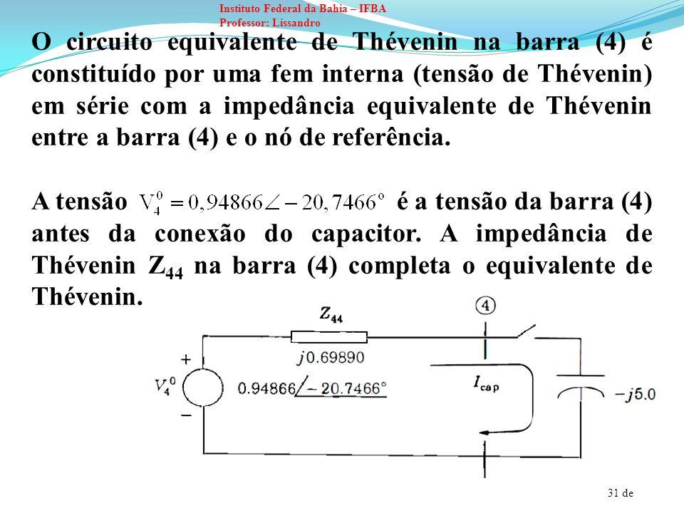 31 de Instituto Federal da Bahia – IFBA Professor: Lissandro O circuito equivalente de Thévenin na barra (4) é constituído por uma fem interna (tensão