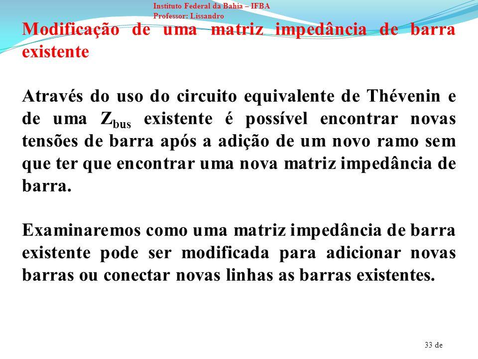 34 de Instituto Federal da Bahia – IFBA Professor: Lissandro É possível reconhecer diversos tipos de modificações pelas quais um ramo com impedância Z b é adicionada em uma rede com a matriz impedância de barra conhecida.