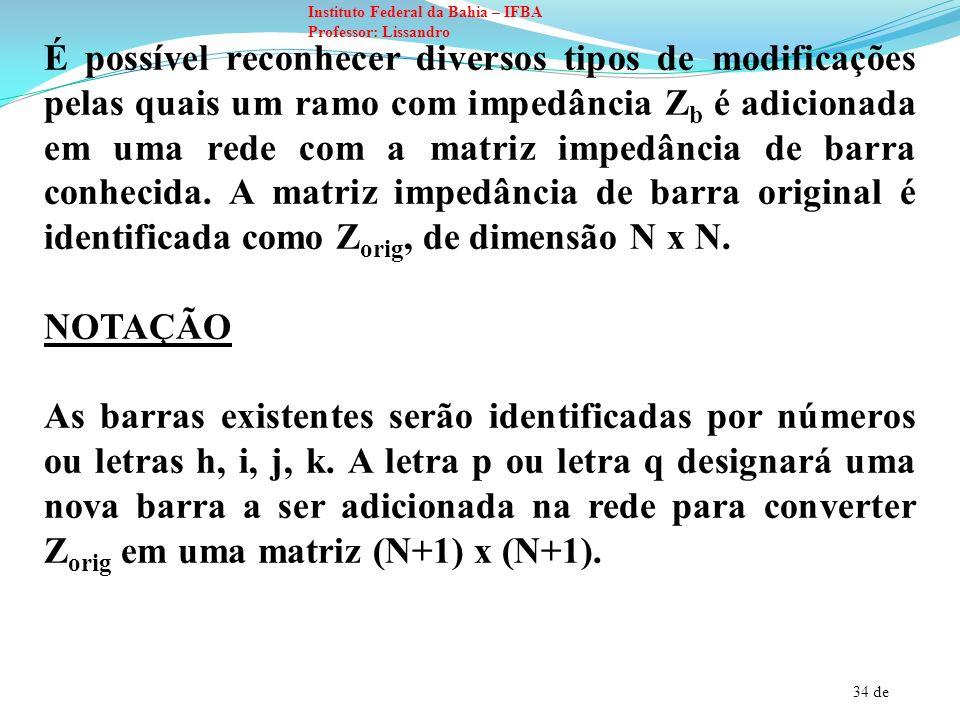35 de Instituto Federal da Bahia – IFBA Professor: Lissandro Na barra (k) a tensão inicial será designada por e a nova tensão após a modificação de Z bus será identificada por V k.