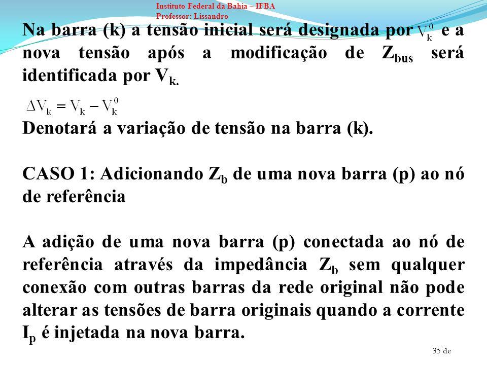 35 de Instituto Federal da Bahia – IFBA Professor: Lissandro Na barra (k) a tensão inicial será designada por e a nova tensão após a modificação de Z