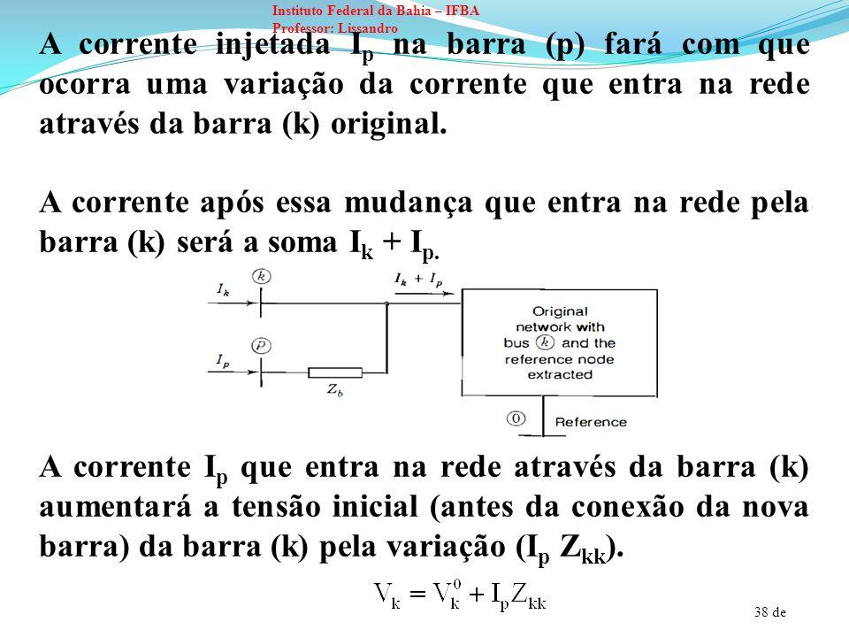 39 de Instituto Federal da Bahia – IFBA Professor: Lissandro A tensão da nova (p) será maior do que a tensão da barra (k) sendo dada por: E substituindo para : Essa é a nova linha que deve adicionada na matriz impedância original do sistema.