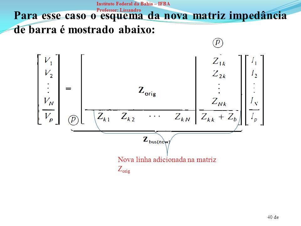40 de Instituto Federal da Bahia – IFBA Professor: Lissandro Para esse caso o esquema da nova matriz impedância de barra é mostrado abaixo: Nova linha