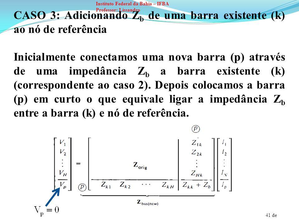 41 de Instituto Federal da Bahia – IFBA Professor: Lissandro CASO 3: Adicionando Z b de uma barra existente (k) ao nó de referência Inicialmente conec