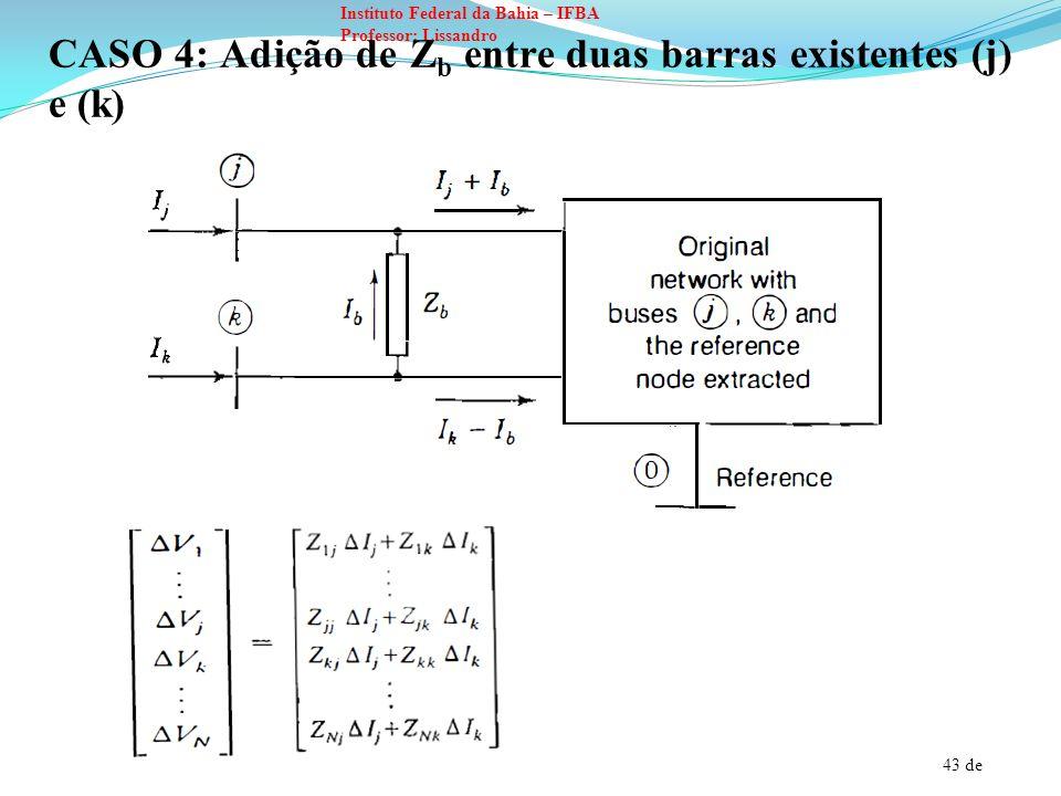 44 de Instituto Federal da Bahia – IFBA Professor: Lissandro Para efetuar os cálculos da nova matriz impedância de barra podemos analisar a situação onde ocorre variação na corrente injetada através de duas barras.