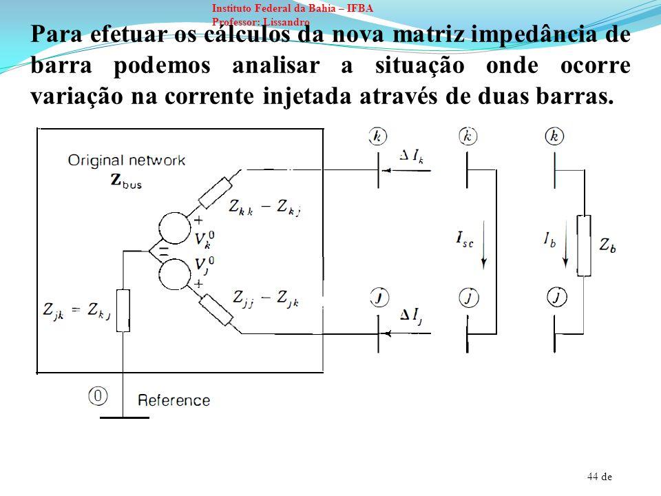 44 de Instituto Federal da Bahia – IFBA Professor: Lissandro Para efetuar os cálculos da nova matriz impedância de barra podemos analisar a situação o